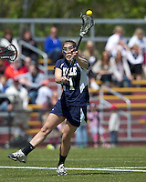 Yale University attacker Caroline Crow (1) shoots the ball. Boston College defeated Yale University, 16-5, at Newton Campus Field, April 28, 2012..