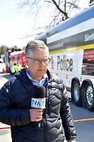 le journaliste Paul Larocque de TVA lors des  Innondations<br /> , avril2019<br /> <br /> <br /> PHOTO : Agence Quebec Presse