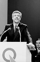 FILE PHOTO : Victoire de Pierre-Marc Johnson lors du vote final de la course ‡ la chefferie du Parti QuÈbÈcois, le 29 septembre 1985<br /> <br /> PHOTO : Denis Alix -  Agence Quebec Presse