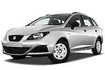 Low aggressive front three quarter view of 2010 Seat Ibiza ST 5 Door Wagon Stock Photo