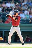 Designated hitter Matt Oberste (23) of the Savannah Sand Gnats bats in a game against the Greenville Drive on Sunday, June 22, 2014, at Fluor Field at the West End in Greenville, South Carolina. Greenville won, 7-3. (Tom Priddy/Four Seam Images)
