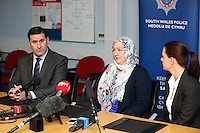 """Pictured L-R: Detective superintendent Paul Hurley, Andrea Aburas giving a statement at Cardiff Bay Police Station and police liaison officer Jennifer Coleman. Monday 05 January 2015<br /> Re: A man has pleaded guilty of murdering a woman in a Cardiff hotel room has been found by police.<br /> Sammy Almahri from New York, went on the run following the discovery of Nadine Aburas's body at the Future Inn, Cardiff Bay, on 31 December 2014.<br /> An international search was launched to find Mr Almahri.<br /> He was arrested by Tanzanian Police.<br /> Nadine's family has issued the following statement:  """"Justice has been done for Nadine. The right verdict has been returned. We wish to thank everyone who has assisted us throughout this tragic period in our lives.<br /> """"We ask now that we are given time to grieve and remember our beautiful girl. We will give a full statement after sentence."""""""