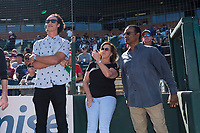Surprise Saguaros shortstop Cole Tucker (2), of the Pittsburgh Pirates organization, with his family while awaiting the presentation of the 2018 Dernell Stenson Sportsmanship Award plaque before the Arizona Fall League Championship Game against the Peoria Javelinas at Scottsdale Stadium on November 17, 2018 in Scottsdale, Arizona. (Zachary Lucy/Four Seam Images)