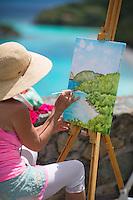 Artist Helen Eltis at the Trunk Bay Overlook<br /> Virgin Islands National Park<br /> St. John, US Virgin Islands