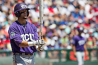 TCU Horned Frogs outfielder Dane Steinhagen (10) at the plate against the Texas Tech Red Raiders in Game 3 of the NCAA College World Series on June 19, 2016 at TD Ameritrade Park in Omaha, Nebraska. TCU defeated Texas Tech 5-3. (Andrew Woolley/Four Seam Images)
