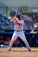 Reading Fightin Phils second baseman Emmanuel Marrero (15) at bat during the second game of a doubleheader against the Portland Sea Dogs on May 15, 2018 at FirstEnergy Stadium in Reading, Pennsylvania.  Reading defeated Portland 9-8.  (Mike Janes/Four Seam Images)