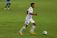 CARSON, CA - OCTOBER 18: Julian Araujo #22 of the Los Angeles Galaxy moves with the ball during a game between Vancouver Whitecaps and Los Angeles Galaxy at Dignity Heath Sports Park on October 18, 2020 in Carson, California.