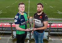 Monday 24th February 2020 | Deep River Rock Ulster Towns Cup Semi-Final Draw<br /> <br /> Pictured with the Deep River Rock Ulster Towns Cup is Ballynahinch RFC 2s captain Eamon McAnulty and Carrick RFC captain Johnny Sherriff. Photo by John Dickson / DICKSONDIGITAL