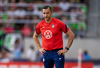 AUSTIN, TX - JUNE 16: Vlatko Andonovski of the USWNT watches his team during a game between Nigeria and USWNT at Q2 Stadium on June 16, 2021 in Austin, Texas.