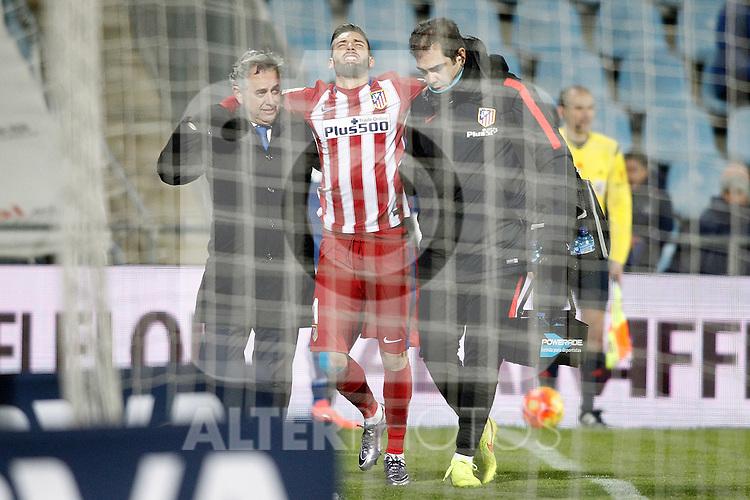 Atletico de Madrid's Yannick Carrasco injured during La Liga match. February 14,2016. (ALTERPHOTOS/Acero)