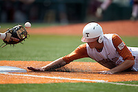 Texas Longhorns third baseman Erich Weiss #6 dives back to first during the NCAA baseball game against the Texas A&M Aggies on April 28, 2012 at UFCU Disch-Falk Field in Austin, Texas. The Aggies beat the Longhorns 12-4. (Andrew Woolley / Four Seam Images).