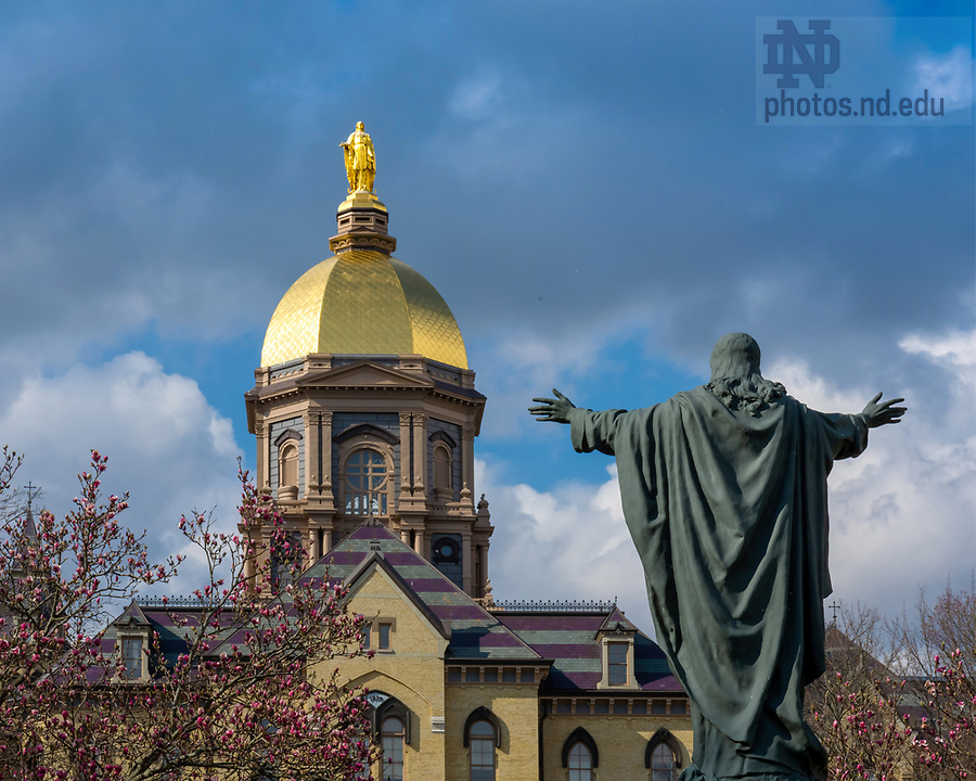 April 14, 2020; Main Building and Jesus statue (Photo by Matt Cashore/University of Notre Dame)