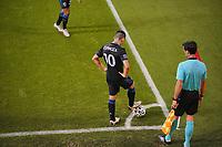 SAN JOSE, CA - OCTOBER 28: Cristian Espinoza #10 of the San Jose Earthquakes during a game between Real Salt Lake and San Jose Earthquakes at Earthquakes Stadium on October 28, 2020 in San Jose, California.