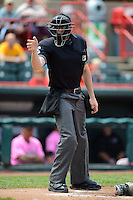 Umpire Nick Lentz during a game between the Erie Seawolves and New Hampshire Fisher Cats on June 9, 2013 at Jerry Uht Park in Erie, Pennsylvania.  New Hampshire defeated Erie 3-2.  (Mike Janes/Four Seam Images)