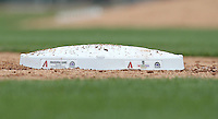 Special ceremonial bases were used when the Arizona Diamondbacks played against the Colorado Rockies in the inaugural spring training game at Salt River Fields on February 26, 2011 in Scottsdale, Arizona. .Photo by:  Bill Mitchell/Four Seam Images.