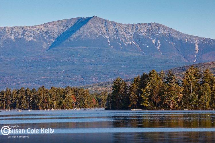 Mt Katahdin and Baxter State Park reflected in Millinocket Lake, Penobscot County, ME