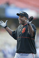 Barry Bonds of the San Francisco Giants before a 2002 MLB season game against the Los Angeles Dodgers at Dodger Stadium, in Los Angeles, California. (Larry Goren/Four Seam Images)