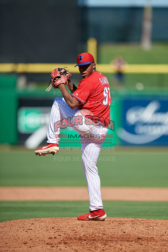 Philadelphia Phillies relief pitcher Edubray Ramos (61) delivers a pitch during a Grapefruit League Spring Training game against the Baltimore Orioles on February 28, 2019 at Spectrum Field in Clearwater, Florida.  Orioles tied the Phillies 5-5.  (Mike Janes/Four Seam Images)