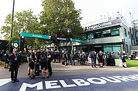 13th March 2020; Melbourne Grand Prix Circuit, Melbourne, Victoria, Australia; Formula One, Australian Grand Prix, Practice Day; Teams wait to enter the pits