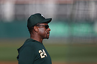 OAKLAND, CA - SEPTEMBER 4:  Coach Rickey Henderson #24 of the Oakland Athletics watches batting practice before the game against the Los Angeles Angels at the Oakland Coliseum on Wednesday, September 4, 2019 in Oakland, California. (Photo by Brad Mangin)
