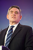 Prime Minister Gordon Brown, Labour Party election campaign press conference, London.
