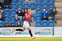 John O'Sullivan of Morecambe celebrates the opening goal during Colchester United vs Morecambe, Sky Bet EFL League 2 Football at the JobServe Community Stadium on 19th December 2020