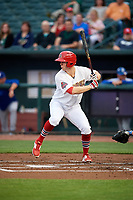 Memphis Redbirds right fielder Todd Cunningham (15) at bat during a game against the Round Rock Express on April 28, 2017 at AutoZone Park in Memphis, Tennessee.  Memphis defeated Round Rock 9-1.  (Mike Janes/Four Seam Images)