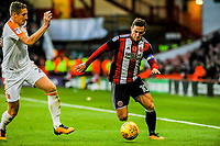 Sheffield United's forward Billy Sharp (10) takes on Hull City's defender Michael Dawson (21) during the Sky Bet Championship match between Sheff United and Hull City at Bramall Lane, Sheffield, England on 4 November 2017. Photo by Stephen Buckley / PRiME Media Images.