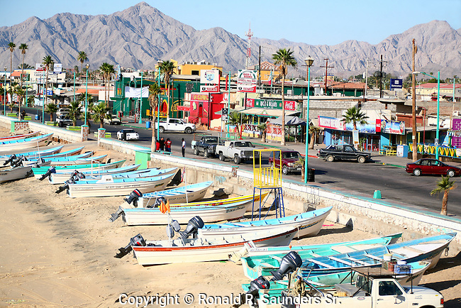 Panga boats on the seaside,<br />