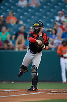 Richmond Flying Squirrels catcher Matt Winn (15) during an Eastern League game against the Bowie Baysox on August 15, 2019 at Prince George's Stadium in Bowie, Maryland.  Bowie defeated Richmond 4-3.  (Mike Janes/Four Seam Images)