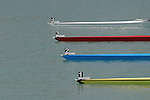 Rowing, racing shells lined up at start of rowing race, World Rowing Championships, Milan Italy, Bow numbers,.