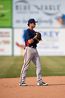 Potomac Nationals shortstop Carter Kieboom (5) during the first game of a doubleheader against the Lynchburg Hillcats on June 9, 2018 at Calvin Falwell Field in Lynchburg, Virginia.  Lynchburg defeated Potomac 5-3.  (Mike Janes/Four Seam Images)