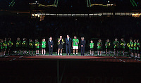 13-02-11,  Tennis, Rotterdam, ABNAMROWTT 2011, Prijsuitrijking met Richard Krakjicek in het midden en links Dhr. Zalm  ABNAMRO en de winnaar Robin Soderling en rechts de finalist Jo wilfried Tsonga en Jolands Jansen van Ahoy