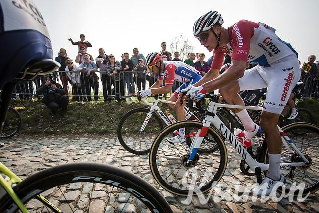 Dutch national champion Mathieu Van der Poel (NED/Corendon Circus) up the Koppenberg cobbles<br /> <br /> 103rd Ronde van Vlaanderen 2019<br /> One day race from Antwerp to Oudenaarde (BEL/270km)<br /> <br /> ©kramon