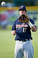 Third baseman Matt Gamel (17) of the Huntsville Stars plays catch prior to the game at the Baseball Grounds in Jacksonville, FL, Thursday June 12, 2008.