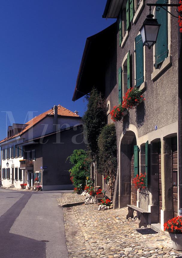 Switzerland, La Cote, Vaud, Village of St. Prex