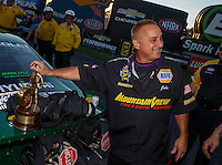 Sep 3, 2016; Clermont, IN, USA; John Nobile , father of NHRA pro stock driver Vincent Nobile during qualifying for the US Nationals at Lucas Oil Raceway. Mandatory Credit: Mark J. Rebilas-USA TODAY Sports