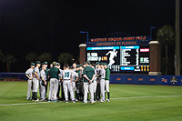 Siena Saints head coach Tony Rossi (40) talks with his team after a game against the Florida Gators on February 16, 2018 at Alfred A. McKethan Stadium in Gainesville, Florida.  Florida defeated Siena 7-1.  (Mike Janes/Four Seam Images)