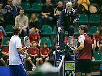 20-12-13,Netherlands, Rotterdam,  Topsportcentrum, Tennis Masters, Jesse Huta Galung (NED) and  Boy Westerhof (NED)(L) dont shake hands after the match<br /> Photo: Henk Koster