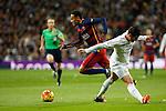 Real Madrid´s James Rodriguez and Barcelona´s Neymar Jr during 2015-16 La Liga match between Real Madrid and Barcelona at Santiago Bernabeu stadium in Madrid, Spain. November 21, 2015. (ALTERPHOTOS/Victor Blanco)