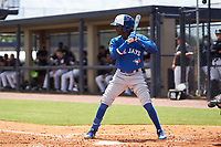FCL Blue Jays Marcos De La Rosa (22) bats during a game against the FCL Yankees on June 29, 2021 at the Yankees Minor League Complex in Tampa, Florida.  (Mike Janes/Four Seam Images)