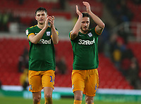 Preston North End's Jordan Storey and Ben Davies applaud the fans at the final whistle <br /> <br /> Photographer Stephen White/CameraSport<br /> <br /> The EFL Sky Bet Championship - Stoke City v Preston North End - Saturday 26th January 2019 - bet365 Stadium - Stoke-on-Trent<br /> <br /> World Copyright © 2019 CameraSport. All rights reserved. 43 Linden Ave. Countesthorpe. Leicester. England. LE8 5PG - Tel: +44 (0) 116 277 4147 - admin@camerasport.com - www.camerasport.com