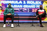 26th August 2021; Spa Francorchamps, Stavelot, Belgium: FIA F1 Grand Prix of Belgium, driver arrival day:  18 Lance Stroll CAN, Aston Martin Cognizant F1 Team, 7 Kimi Raikkonen FIN, Alfa Romeo Racing ORLEN