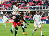 WASHINGTON, DC - MARCH 07: Juan Agudelo #12 of Inter Miami and Oneil Fisher #91 of DC United clash during a game between Inter Miami CF and D.C. United at Audi Field on March 07, 2020 in Washington, DC.