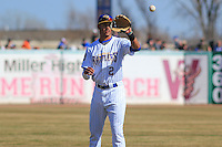 Wisconsin Timber Rattlers shortstop Jake Gatewood (2) warms up prior to a game against the Peoria Chiefs on April 12th, 2015 at Fox Cities Stadium in Appleton, Wisconsin.  Peoria defeated Wisconsin 11-1.  (Brad Krause/Four Seam Images)