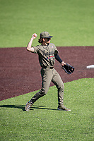 Vanderbilt Commodores shortstop Carter Young (9) makes a throw against the South Carolina Gamecocks at Hawkins Field in Nashville, Tennessee, on March 21, 2021. The Gamecocks won 6-5. (Danny Parker/Four Seam Images)