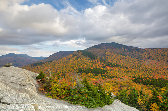 Scenic landscape from Middle Sugarloaf Mountain in Bethlehem, New Hampshire USA on a cloudy autumn day.