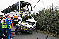 Coach being lifted of the remains of a Renault Clio car at this Fatal incident. This image may only be used to portray the subject in a positive manner..©shoutpictures.com..john@shoutpictures.com