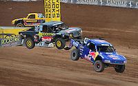 Mar. 20, 2011; Chandler, AZ, USA;  LOORRS pro four driver Ricky Johnson (48) leads Kyle Leduc during round two at Firebird International Raceway. Mandatory Credit: Mark J. Rebilas-