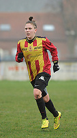 20160116 - ZULTE , BELGIUM : KV Mechelen's Shauny Polfliet   pictured during a soccer match between the women teams of Famkes Merkem B and Yellow-Red KV Mechelen  , during the matchday in the Tirth League - Derde Nationale season, Saturday 13 February 2016 . PHOTO DIRK VUYLSTEKE